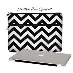 SUPER SALE  MacBook Case, 13 MacBook Pro Case, 13 MacBook Air Case, MacBook Pro Retina 13 inch laptop sleeve, zipper pocket, chevron black