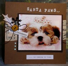 240. Upcycled puppy Christmas card. #handmade #Christmas #puppies