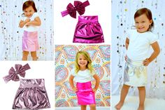"""Shiny and Vibrant Metallic Pencil Skirt and Matching Metallic """"THE BIG BOW"""" Set Will Bring Lots of Glam to Your Little Girls Wardrobe. Great for Events, Birthday's, Celebrations, Holidays and More! 69% off at pickyourplum.com!"""