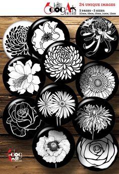 Ceramic Painting, Stone Painting, Ceramic Art, Ceramic Bowls, Resin Pendant, Glass Pendants, Carillons Diy, Image Collage, Black And White Flowers