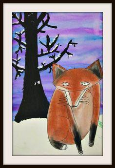 Winter Art Projects, 5th Grade Art, Z Arts, Fox Art, Snowy Day, Naive Art, Elementary Art, Cute Drawings, Art Lessons