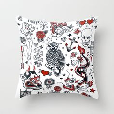 Old School Tattoo Part 1 Throw Pillow by Jody Edwards Art - $20.00