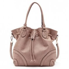 5385dea904c9 Women s Natural Faux Leather Drawstring Hobo W  Piping
