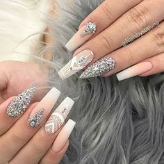 Nail set with different shapes, almond and coffin. Diamond covered nail with matte nude and white ombre! Beautiful nails by 😍 Ugly Duckling Nails page is dedicated to promoting quality, inspirational nails created by International Nail Artists💖 Aycrlic Nails, Diva Nails, Swag Nails, Cute Nails, Pretty Nails, Coffin Nails, Rhinestone Nails, Bling Nails, Swarovski Nails