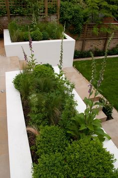 built-in planters and stairs