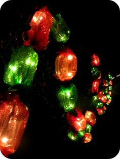 DIY candy land garland, using clear mini lights and colored cellophane.