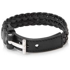 Tom Ford T Belt Braided Bracelet (€310) ❤ liked on Polyvore featuring men's fashion, men's jewelry, men's bracelets, black, mens leather braided bracelets and mens woven bracelets