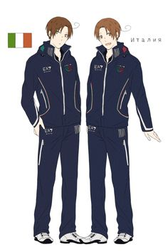 Lovino and Feliciano in the Italian athletes' uniform from the Opening Ceremonies of the 2014 Sochi Winter Olympic Games - Art by toxicell.tumblr.com