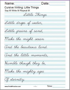Printable cursive writing worksheets help your students learn how to write in cursive handwriting. PDF cursive practice sheets: alphabet, words, numbers, and sentences. Cursive Handwriting Sheets, Cursive Writing Practice Sheets, Handwriting Practice Worksheets, Cursive Writing Worksheets, Homeschool Worksheets, Improve Your Handwriting, Improve Handwriting, Handwriting Analysis, Cursive Writing For Kids