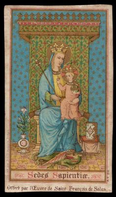 Vintage holy card depicting Mary as Seat of Wisdom