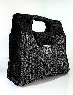 Crochet bag Gray/black luxury sporty-chic crochet handbag