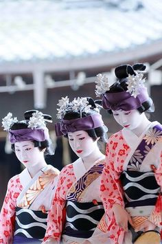 Maiko 舞妓 Lovely graphical obi... And the contrasting sleeve, repeated among the 3 maiko, is a joyful contrast