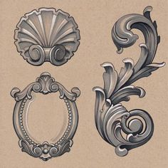 Selection of ornamental illustrations from the book., Selection of ornamental illustrations from the book. Selection of ornamental illustrations from the book. Filigrana Tattoo, Filagree Tattoo, Ornate Tattoo, Baroque Frame, Mirror Tattoos, Motif Arabesque, Framed Tattoo, Tattoo Frame, Ornament Drawing