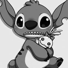 black and white, cute, disney, lilo &amp, stitch - image #621627  sur Favim.fr