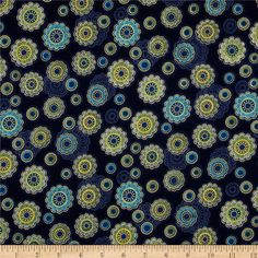 Fortissimo Metallic Small Medallion Marine from @fabricdotcom  Designed by Studio RK for Moda Fabrics, this cotton print fabric with golden metallic elements is perfect for quilting, apparel and home decor accents. Colors include gold, green, and shades of blue.