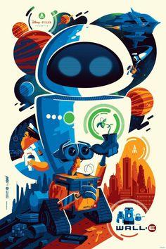 Tom Whalen Wall-E Movie Poster Disney Pixar Print Officially Licensed Art Mondo Tom Whalen, Art Disney, Disney Kunst, Disney Toms, Poster Design, Art Design, Graphic Design, Art Pop, Vintage Disney