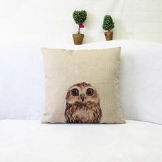 2016 New 43 * 43 cm Lovely simulation animal The owl pillowcase household back cushion pillow cases free shipping