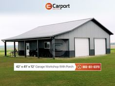 pole barn garage Shown above is a x x metal garage workshop with an additional side porch. The porch measures at x x and features two frame-outs (garage door Metal Garage Buildings, Metal Garages, Shop Buildings, Pole Barn Garage, Pole Barn Homes, Garage House, Garage Doors, Pole Barns, Garage Shop