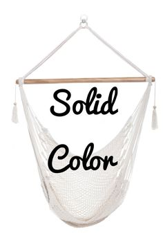 Hanging Chair Sitting Hammock Porch Swing Organic Cotton Indoor/Outdoor Hammock *Solid Color* 100% Handmade Mission Hammocks
