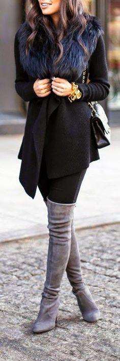 Black and Grey combi - http://fashiongq.com/fashion/black-and-grey-combi/