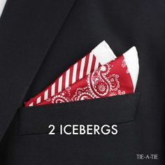 Two Icebergs Pocket Square Fold - Veronika Pocket Square Folds, Pocket Square Styles, Pocket Squares, Handkerchief Folding, Suit Handkerchief, Black And Grey Suit, Grey Suits, French Themed Parties, Lapel Flower