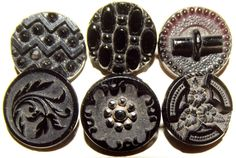 Victorian black glass buttons.