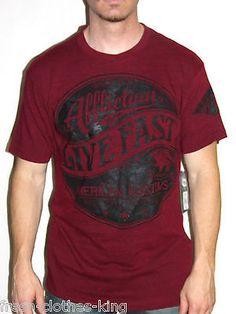 AFFLICTION Shirt New $58 Mens Zenith Burgundy BloodRed Size XL