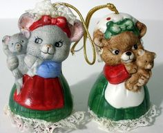 Two Vintage J.S.N.Y Porcelain Ceramic Bear Bell Christmas Ornaments