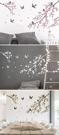 Wandtattoo Kirschblütenzweige Great idea with wall decals: the cherry blossom branches from Wandtatt My New Room, My Room, Wall Sticker, Wall Decals, Teen Girl Rooms, Bedroom Murals, Wall Tattoo, Cool Walls, Wall Design
