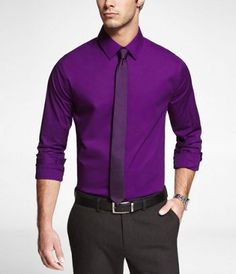 Men's Shirts: Buy Men's Dress Shirts, Fitted Dress Shirts & More at Express Mens Hottest Fashion, Latest Mens Fashion, Men's Fashion, Terno Slim Fit, Shirt Tie Combo, Formal Men Outfit, Formal Wear, Shirt And Tie Combinations, Most Stylish Men