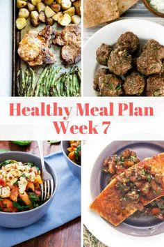 "This week's healthy meal plan with Slow Cooker Balsamic Chicken, Greek Meatballs, Buttermilk ""Fried"" Chicken and more! 