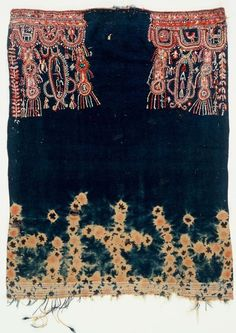 Africa | Tunisian head covering in indigo tie-dye with embroidery
