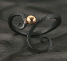 Ironwerx Ring 1--Handforged Recycled Gold and Oxidized Black Sterling Silver Swirl Design Ring with Gold Accent--Custom Made to Size