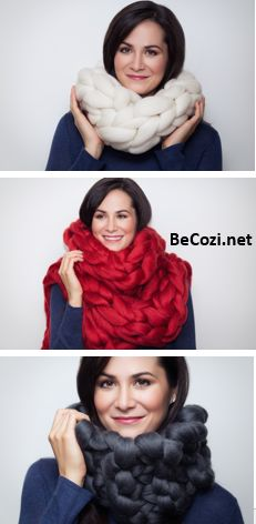 Ready for cold weather? Get one of the softest scarves - BeCozi super chunky Merino wool scarves.