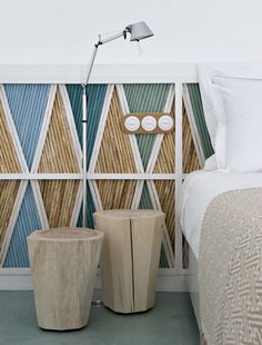 I would make it into a headboard or privacy screen. wall decoration with painted bamboo in a beach house with a cool toned colour palette Painted Bamboo, Bamboo Wall, Style At Home, Bamboo Headboard, Estilo Interior, Cool Color Palette, Beach House Decor, Home Decor, Beach Houses