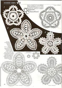 Crochet flower diagram - Мотивы ирландского кружева » Клубка.Нет - Все о вязании крючком: