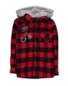 Hooded Check Cotton Shirt