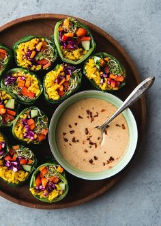Collard Green Rainbow Rolls with Turmeric Rice & Spicy Peanut Dipping Sauce (vegan and gluten-free) Will Cook For Friends Healthy Recipes, Raw Food Recipes, Healthy Snacks, Vegetarian Recipes, Healthy Eating, Vegetarian Barbecue, Barbecue Recipes, Vegetarian Cooking, Easy Recipes