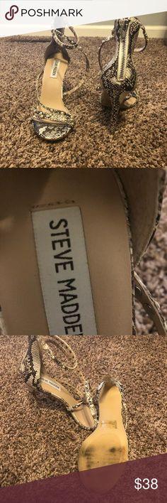 Steve Madden high heels Tan-and-black snakeskin Steve Madden ankle-strap 5inc heels sandals Steven By Steve Madden Shoes Sandals