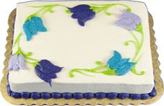 Tulip Bordered Sheet Cake--simple but effective Spring Cake, Summer Cakes, Buttercream Decorating, Buttercream Cake, Cake Decorating Techniques, Cake Decorating Tips, Cupcake Shops, Cupcake Cakes, Sheet Cakes Decorated