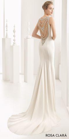 Rosa Clará 2017 Bridal Collection: sleeveless bateau neckline simple clean elegant sheath wedding dress beaded back sweep train (naisha) bv -- #wedding #bridal #weddingdress #weddinggown #romantic #rosaclara