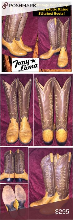 """Vtg RARE Tony Lama Exotic Rhino Stitched Boots! Vintage Boho Tony Lama Exotic Rhino Stitched Boots! Features: from Tony Lama """"Gold Coin"""" Collection, Rare Genuine Spotted Rhinoceros & cowhide leather, saddle brown & chic brown - two tone color, contrast stitched shafts, vintage 70-80's piece, stacked heel, western cowboy style & leather upper. 3.75"""" across bottom, 2"""" heel, shaft height: 15 1/2"""", 15"""" around calf, 13 1/2"""" around ankle, Size 8 1/2D men & Size 10 women. Minor ext wear. Awesome…"""