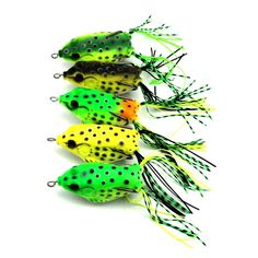 Frog Lure Bass Fishing Hooks Bait Tackle Topwater 5pcs Soft Baits with Box UK DT
