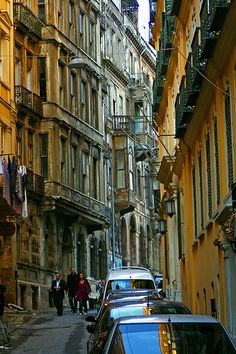 """Street in Galata, Istanbul. Include #Istanbul in your #travel #bucketlist #bucket #list. Checkout """"City is Yours"""" http://www.cityisyours.com/explore to discover amazing bucket lists created by local experts."""