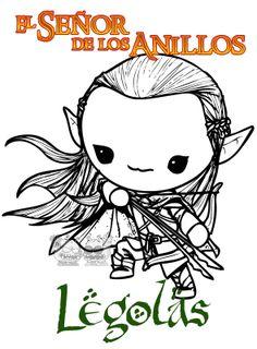 """Otro diseño kawaii para nuestras camisetas de el Señor de los Anillos, Legolas el elfo """"pro"""" xD"""