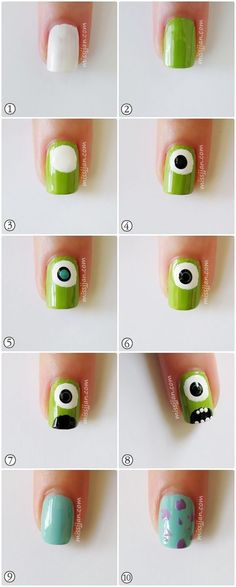 monster inc nails Trendy Nail Art, Cute Nail Art, Nail Art Diy, Easy Nail Art, Diy Nails, Cute Nails, Manicure, Nail Nail, Monster University Nails