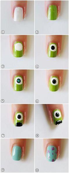 monster inc nails Trendy Nail Art, Cute Nail Art, Easy Nail Art, Cute Nails, Monster University Nails, Monster Inc Nails, Nail Art Designs, Disney Nail Designs, Design Art