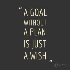 """""""Um objetivo sem um plano é só um desejo."""""""