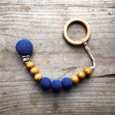 wooden pacifier holder clip blue crochet wooden by Bubuline