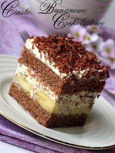 Layered chocolate - banana cake with shredded chocolate. Ciasto przekładane - czekoladowo  bananowe